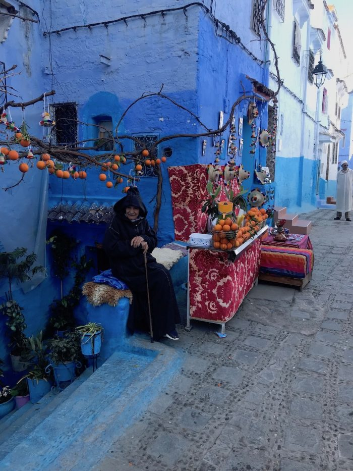 Lady in the Blue CIty of Morocco